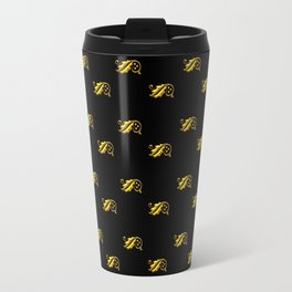 Golden 3-D look Holly and Berries on a Black Background Travel Mug