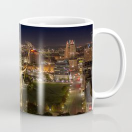 Aerial View Downtown Providence, Rhode Island at Night Coffee Mug
