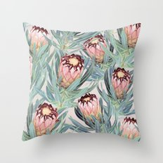 Pale Painted Protea Neriifolia Throw Pillow