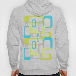 Mid-Century Modern Rectangle Design Blue Green and Gray Hoody