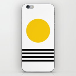 Midcentury Yellow Minimalist Sunset With Black Stripes iPhone Skin