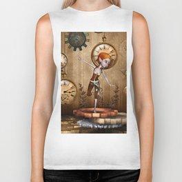Cute little steampunk girl with clocks and gears Biker Tank