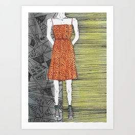 The girl in the dress. Art Print
