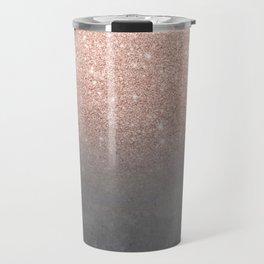 Rose gold glitter ombre grey cement concrete Travel Mug