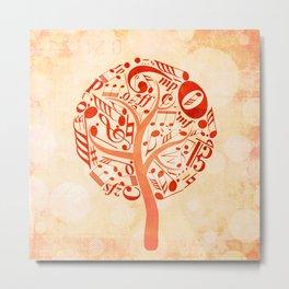 Watercolor music tree Metal Print