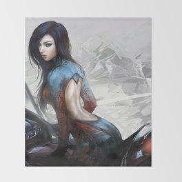 Huh... Hot girl on motorcycle Throw Blanket