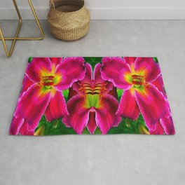 CERISE PINK LILY FLOWERS GREEN ABSTRACT Rug