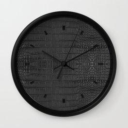 Alligator Black Leather Wall Clock