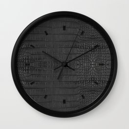 Alligator Black Leather Wall Clock