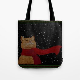 Knitted Wintercat Tote Bag