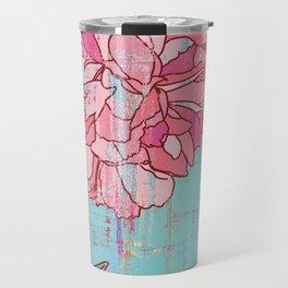 Pink roses, floral print in pastels Travel Mug