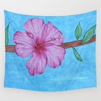 hibiscus Wall Tapestries featuring Hibiscus by Artfully Alexa