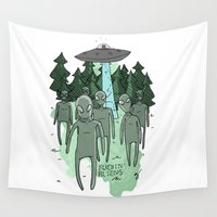 aliens Wall Tapestries featuring fuckin aliens by Nate Galbraith