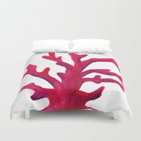 coral Duvet Covers featuring Coral by Hayley Lang
