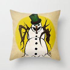 Sinister Snowman Throw Pillow