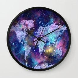 world map galaxy purple Wall Clock