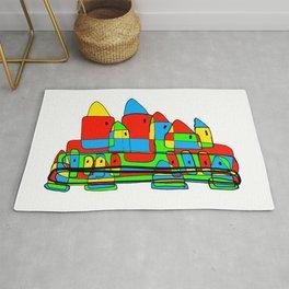 Colored Little Village for Kids Rug