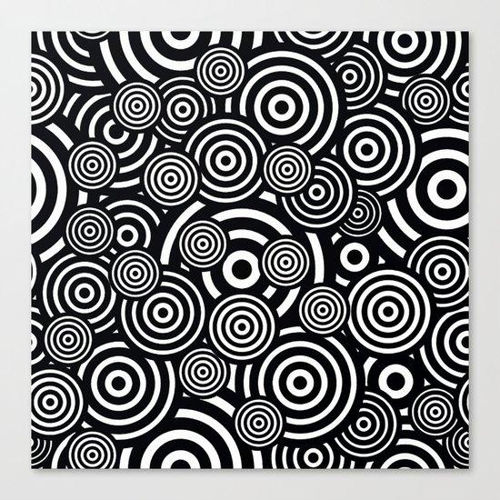 BLACK AND WHITE BULLSEYE ABSTRACT Canvas Print