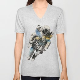 Clavius | astronaut floating in the space Unisex V-Neck