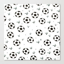 Fun grass and soccer ball sports illustration pattern Canvas Print