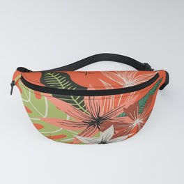 tropical bouquet on orange Fanny Pack
