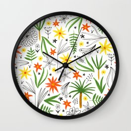 bright tropical floral print Wall Clock