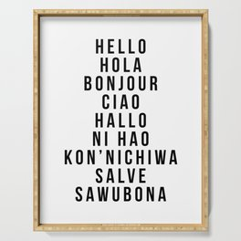 Hello In Multiple Languages - Hola Bonjour Ciao Halo Serving Tray