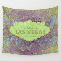 las vegas Wall Tapestries featuring Zig Zag LAS VEGAS by MehrFarbeimLeben