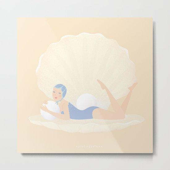 She in a Sea Shell Metal Print