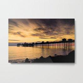 Sunrise at Llandudno Pier Metal Print