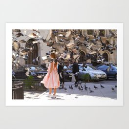 The Girl with Doves Art Print