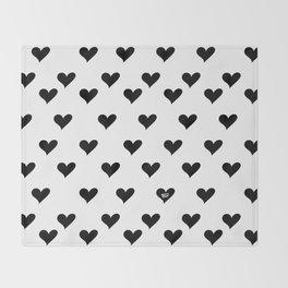 Retro Hearts Pattern Black White Throw Blanket