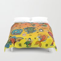 japanese Duvet Covers featuring Japanese Collage by GoldTarget