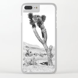 Vintage Desert Scape B&W // Cactus Nature Summer Sun Landscape Black and White Photography Clear iPhone Case