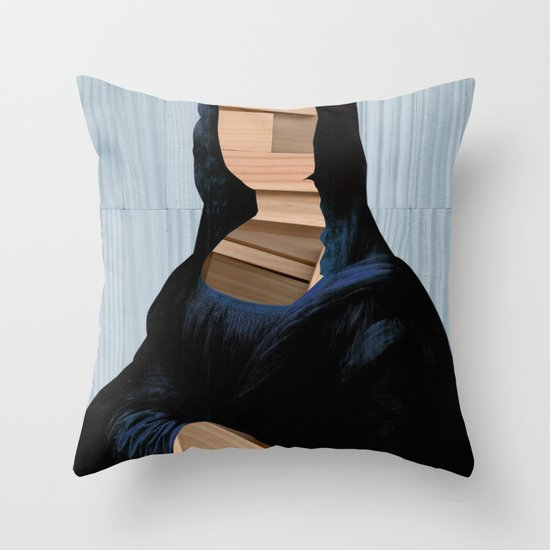Mona Lisa - blue shining WoodCut Collage Throw Pillow