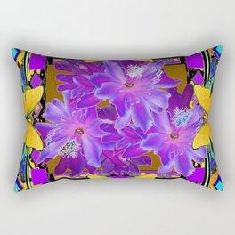 TROPICAL PURPLE FLOWERS & YELLOW BUTTERFLIES FRAMED ART Rectangular Pillow