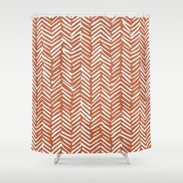 Boho Herringbone, Abstract Pattern, Burnt Rust Orange Shower Curtain