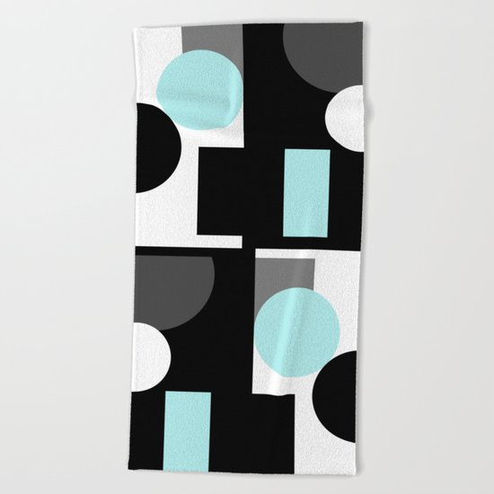An abstract geometric pattern . Geometric shapes . Black sky blue white pattern . Beach Towel