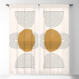 Boho Geometric Shapes, Abstract Lines and Shapes, Burnt Orange Sun - Mid-century Abstract Blackout Curtain