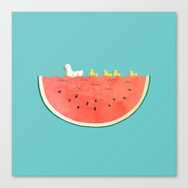 duckies and watermelon Canvas Print
