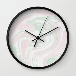 Paper Marbling Marble Effect Swirl Pink Green Wall Clock