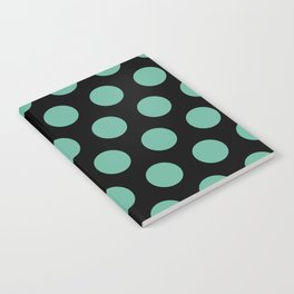 Colorful Mid Century Modern Polka Dots 528 Turquoise and Black Notebook