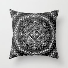 White Flower Mandala on Black Throw Pillow