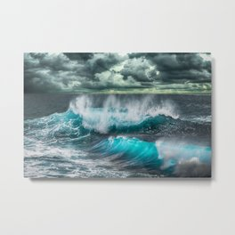 Turquoise Sea and Clouds Metal Print