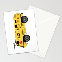 Armored Yellow School Bus Anti-Weapon Tank Stationery Cards