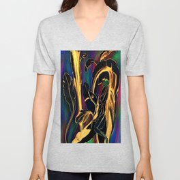 Blue Succulent Colorful Night, Black and Gold Rainbows Unisex V-Neck