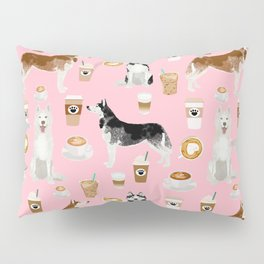 Husky siberian huskies coffee cute dog art drinks latte dogs pet portrait pattern Pillow Sham