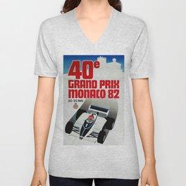 Gran Prix de Monaco, 1982, original vintage poster Unisex V-Neck