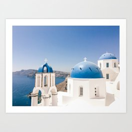 Santorini 0001: Churches in Oia, Santorini, Greece Art Print