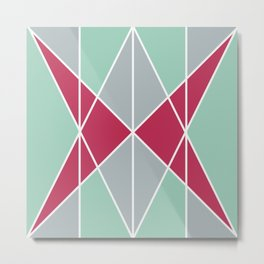 white lines green grey triangle Metal Print